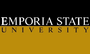 The words Emporia State University on a black and gold background.