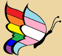 A gynandromorph butterfly with the transgender pride flag for the front wing and the rainbow pride flag on the rear wing