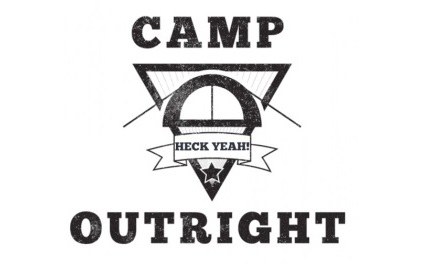 Black and white logo with the text Camp Outright surrounding a Triangle with a banner over it reading Heck Yeah!