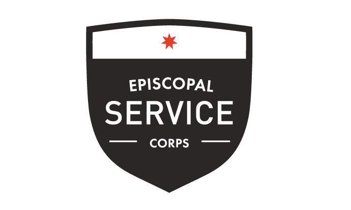 A black shield with a white bar on the top with a red star. The body of the shield reads 'Episcopal Service Corps' in white text