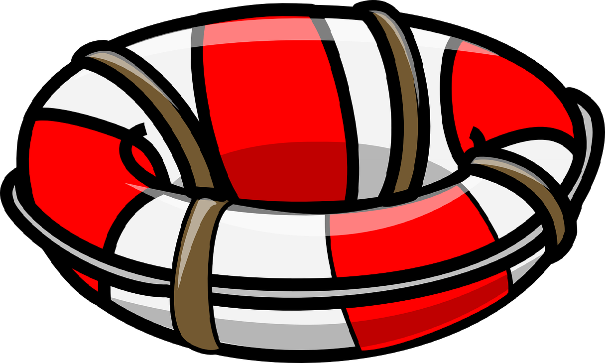 A red and white round rescue tube.