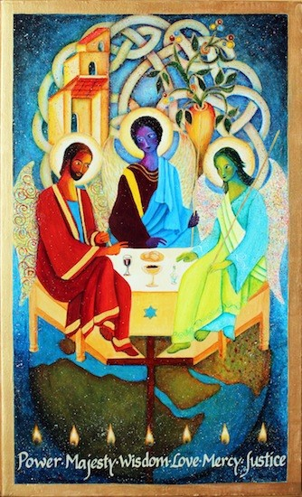 A reworking of Rublev's icon in which the leftmost person is red, the central person is purple,