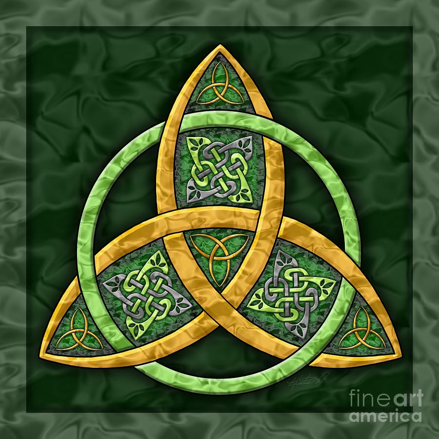 A yellow triquerta on a deep green background and stylized with celtic knotwork.
